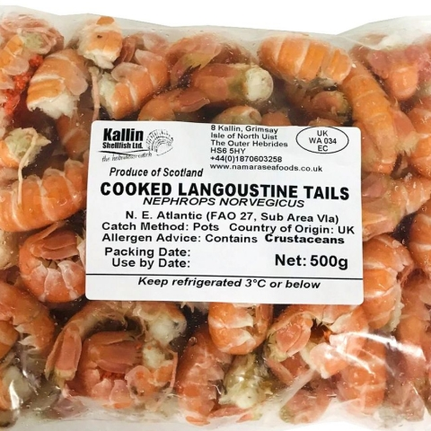 Cooked Hebridean Langoustine Tails - 500g