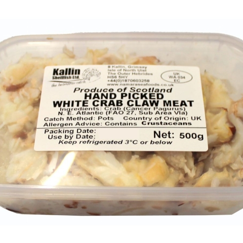 Hebridean Hand Picked Crab Claw Meat 500g tray